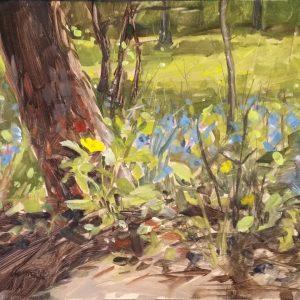 Oil painting, original artwork, forest, foliage, flowers, bluebells, celandine poppies, plein air