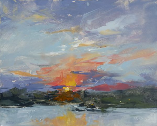 Plein air painting of colorful sunrise.
