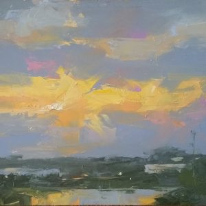 Plein air oil painting of sunrise