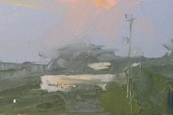 Detail of oil painting of sunrise