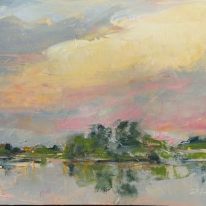 Plein air oil painting of sunset