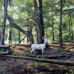 Oil painting of White Doe painting
