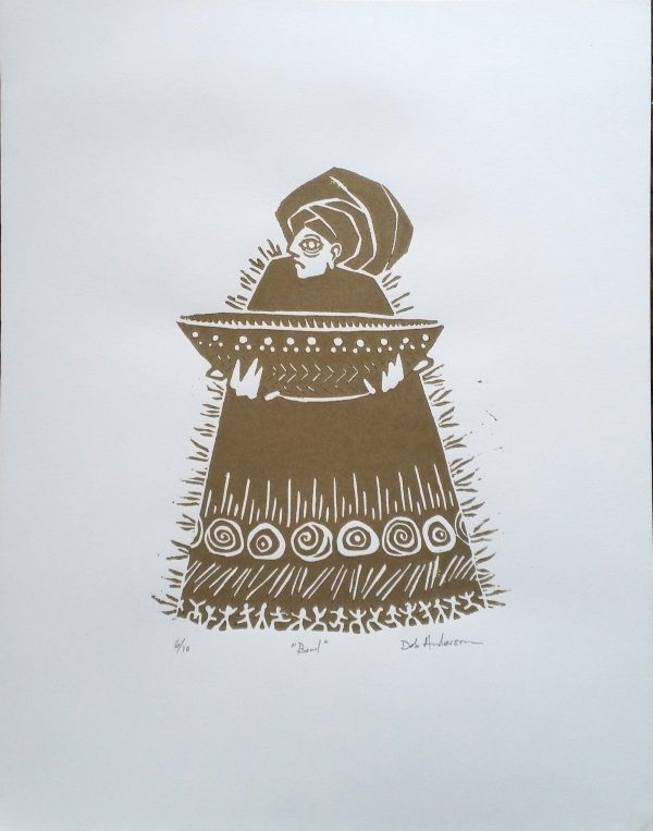 Linoprint of woman holding a bowl