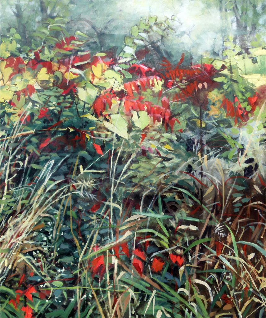 Painting of dense foliage, including pale grapevine, blond grasses, various greens, and bright red sumac leaves.
