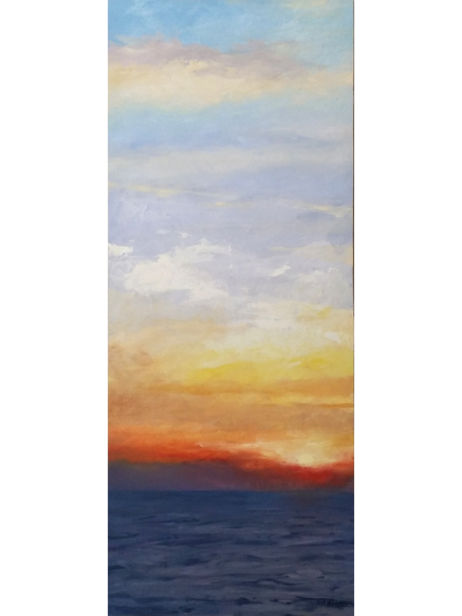 Oil painting, original artwork, of a brilliant sunrise sky over water.