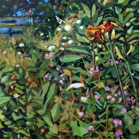 Oil painting, original artwork, focused on foliage, tiger lilies and milkweed, lakeside plants in the midwest.