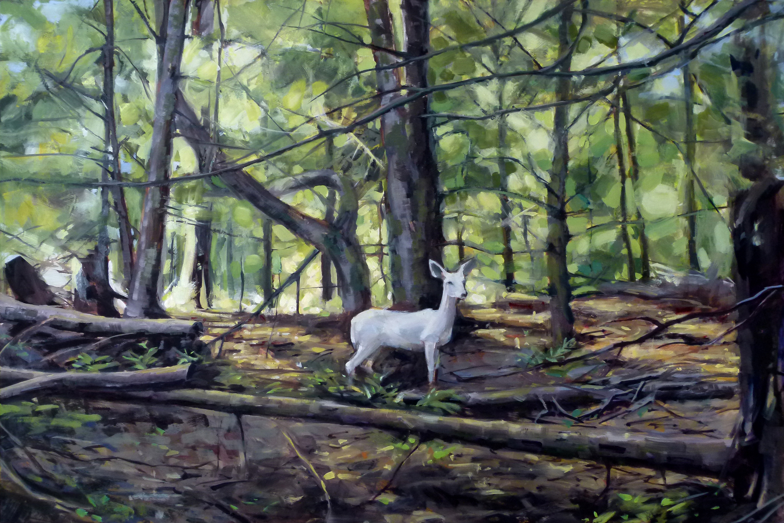 Oil painting, original artwork, focused on a white doe surrounded by forest foliage, with sunlight pouring in from behind; symbolism, environment, nature.